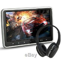 10.1'' Digital HD TFT LCD Screen Car Headrest Monitor DVD Player Kit USB/HDMI/FM