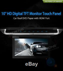 10 Car Screen Video Roof Overhead Monitor Flip Down DVD Player +2 Headphone UK