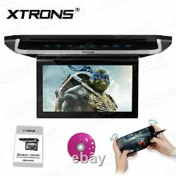 10 HD Touch Button Flip Down Car DVD Player Monitor Roof Mount Game Headphones