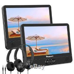 12 Dual Screen Portable DVD Player Car Headrest Monitor USB SD MMC+2 Headphones
