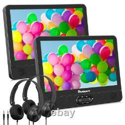 12 Twin Screen Car Headrest Portable DVD Player Battery USB SD AV-IN+Headphones