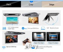 13.3 Car Roof Monitor Flip Down DVD Player Overhead HDMI USB with 2 Headphone