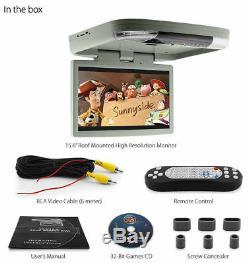 15.6 HD Car DVD Player Roof Mounted Flip Down Monitor Screen Van Bus 24V 12V KT