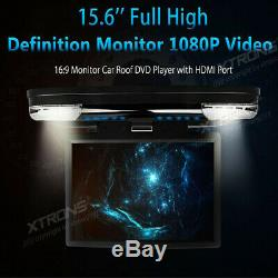 15.6 HD In Car DVD Player Roof Mount Monitor Flip Down Video Screen HDMI FM IR