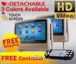 2018 Tan Dual 9 Digital Touch Screen Headrest LCD Car Monitor DVD Usb Player