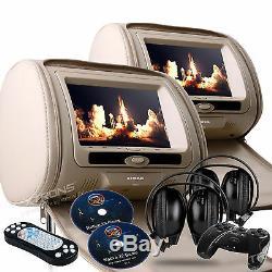 2020 Pair Digital Headrest 7 Car CD DVD Player Screen Monitors & Zipper Covers