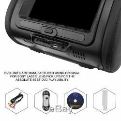 2PCS 7 Black Car Headrest Monitors DVD Player/USB/ FM Speakers +Games SU1#