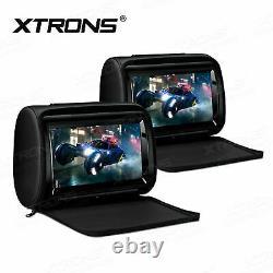2PCS 9 Adjustable Touch Screen Rear Monitor Pillow Car Headrest DVD Player HDMI