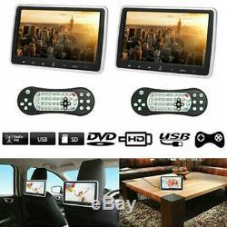2PCS Car 10.1 Inch DVD Player USB LCD Headrest Monitor HD Game FM IR Speaker