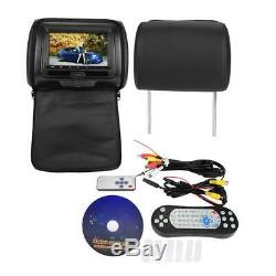 2Pcs 7 Car Digital Monitor Video Headrest DVD Player Game TV USB Remote Control