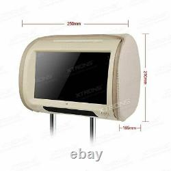 2Pcs 9 Touch Screen In Car Headrest DVD Player Pillow Monitor USB SD Game Beige