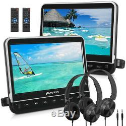 2X10.1 Car Headrest Monitor DVD Player 1080P HD HDMI USB SD FM AV-In+Headphone