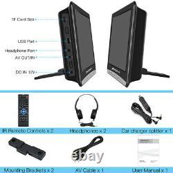 2X10.1 Dual Screen Car Headrest Monitor TV Slot-in DVD Player 1080P USB+Headset