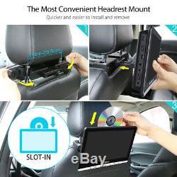 2X10.1 Slot-In CAR Headrest DVD Player Monitor 1080P HDMI FM/IR USB SD+Headsets
