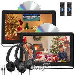 2X10.1 Slot-in Car Headrest DVD Player Twin Monitor HD 1080P USB AV-IN+Headsets