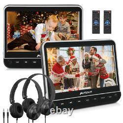 2X10.1 Twin Car Headrest DVD Player LCD Monitor 1080P HDMI AV-IN USB+Headphones