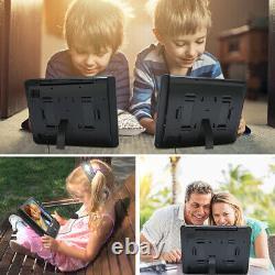 2X12 Dual Screen HD Car Headrest Monitor Portable DVD Player TV Battery+Headset