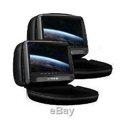 2X 9 Car Headrest DVD Player Pillow Video Screen Monitor USB SD FM IR HDMI Game