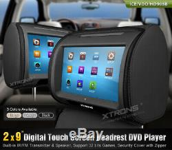 2X 9 Car Headrest Monitor DVD Player Digital TFT LCD Touch Screen Zipper Covers