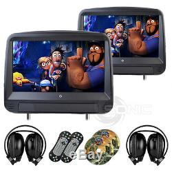2 x Black Leather-Style Car DVD/USB/SD Headrests Touch Screen Range Rover SVR