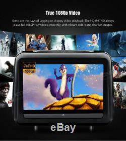 2pcs 10.1HD Touch Screen Car Headrest DVD Player 1080P Video HDMI USB SD Black