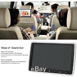 2pcs 10.1'' Car Headrest DVD Player In Car Auto Monitor TouchButton FM/SD R4E4