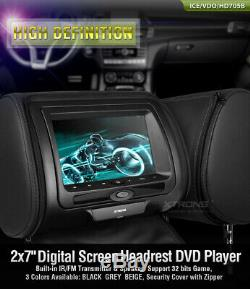 2pcs 7 In Car Headrest DVD Player Screen Pillow Monitor with Case +2 Headphone
