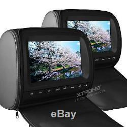 2pcs 9 Digital Screen Car Headrest CD DVD Player Rear Seat Monitor Pillow Black