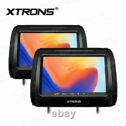 2pcs 9 HD Digital Car Headrest Monitor Pillow Video DVD Player HDMI USB IR FM