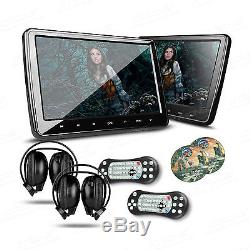 2x 10.1 CAR Headrest DVD CD Player HDMI GAME Touch Button Dual Monitors Headset