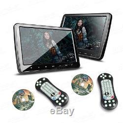 2x 10.1 CAR Headrest DVD CD Player Thin HDMI FM GAME Touch Button Dual Monitors