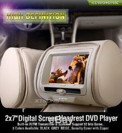 2x 7 Car Digital Monitor Video Headrest DVD Player Game USB SD MP3 FM/IR Beige