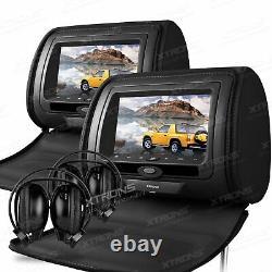 2x 7 Car Headrest Digital Screen DVD Player Monitor Zipper Cover + 2 Headphone