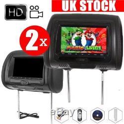 2x 7 Digital Touch Screen Monitor Car Pillow Headrest CD DVD Player Game USB SD