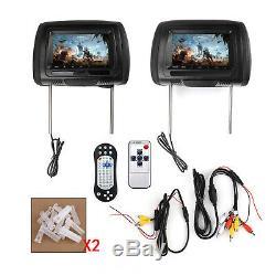 2x 7 HD Car Digital Monitor Video Headrest DVD Player HDMI Game USB TV IR SD