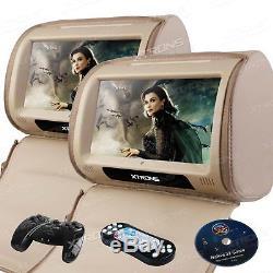 2x 9 Digital Touch Screen Monitor Car Pillow Headrest CD DVD Player Game USB SD