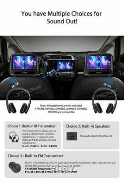 2x 9 Dual Screen Car Pillow Headrest Monitor Rear Seat CD DVD Player Game HDMI