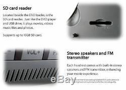 2x 9 HD Headrest ET Car DVD Player Rear Monitor Pillow + Wireless Headphones IR