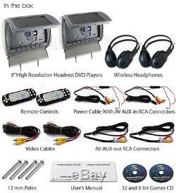 2x 9 HD Headrest GT Car DVD Player Rear Monitor Pillow + Wireless Headphones IR