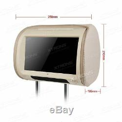 2x 9 Touch Screen In Car Headrest DVD Player Pillow Monitor USB SD Game Beige