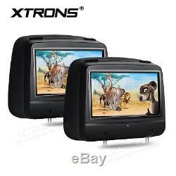 2x In Car Pillow Headrest Monitor CD DVD Player 8 Digital Touch Screen USB/SD