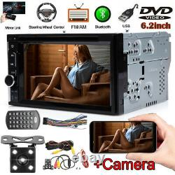 6.2Double 2Din HD Car Stereo DVD Player Bluetooth Mirror for GPS MP3 TV +Camera