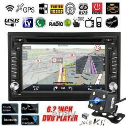 6.2'' Double 2 DIN Car Stereo Radio CD DVD Player GPS SAT Nav bluetooth Camera