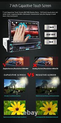 7Touch Screen 1Din Flip Up Car DVD CD Player GPS Sat Nav Radio Bluetooth CAMERA