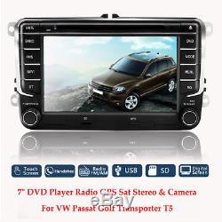 7 Car DVD Player Radio GPS Sat Nav Stereo Camera For VW Passat Golf Transporter