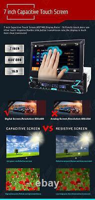 7 Single 1Din Flip Up Car DVD CD Player GPS Sat Nav Radio Bluetooth Stereo Cam