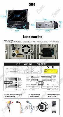 7 Touch Screen 1Din Flip Up Car DVD Player GPS Map Nav Radio Bluetooth Stereo