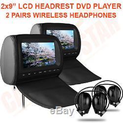 9 Digital Screen Headrest Pillow Car CD DVD Players Games Wireless Headphones