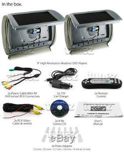 9 Grey Headrest Full HD 2 DVD Car Monitor Players USB Games Pillow IR Headphone