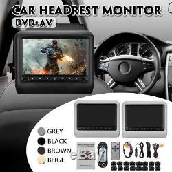 9 Inch Digital LCD Universal Car DVD Headrest Monitor Player SD 8GB to 16GB